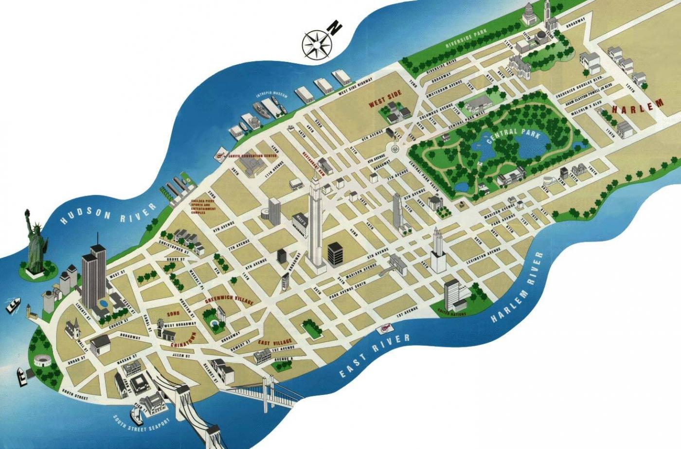 Mapa de nueva york online map - Callejero manhattan ...