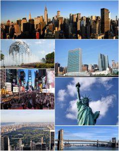 Arriba, de izquierda a derecha: Midtown Manhattan, el Unisphere en Queens, la Sede de la Organización de las Naciones Unidas, Times Square, la Estatua de la Libertad, Central Park, y el Puente de Brooklyn. fuente