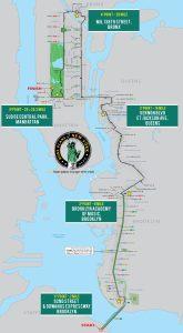 Mapa con los cinco puntos detallados de la Maratón de NYC