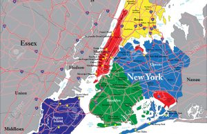 Highly detailed vector map of New York City with the five boroughs, metropolitan area and main roads.