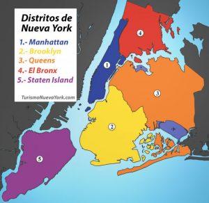 Mapa de los distritos de Nueva York