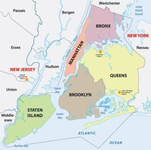 mapa de distritos mas famosos de nueva york