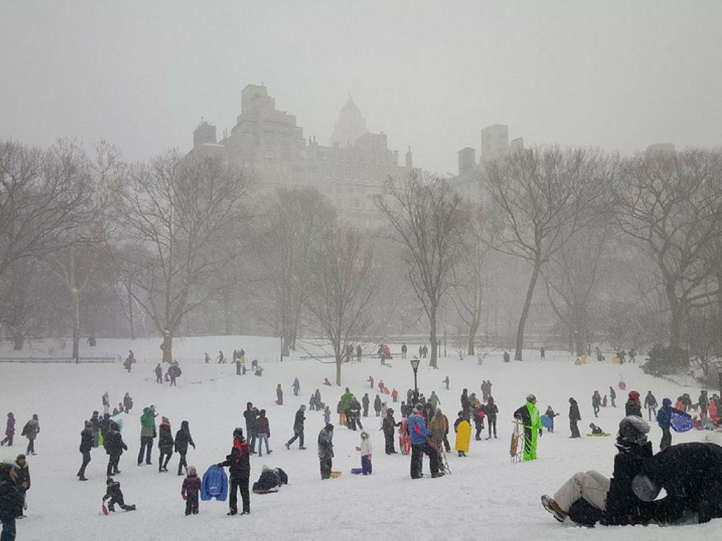 Central Park con nieve.